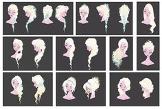 FROZEN, concept art visual development for Elsa's hair