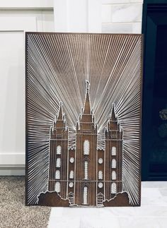 This beautiful string art will be a focal point in your home. This temple rendering was designed and handcrafted by me. It is on inch birch wood with a Dark Walnut stain, strung with white crochet string on wire nails. String Wall Art, Nail String Art, Diy Wall Art, Wall Decor, Thread Art, Thread Painting, Photo Wall Art, Photo Canvas, Lds Art