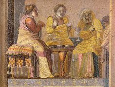 Note the cushion with tassels on the stool on the left. Scene from Menander's Synaristosai (Women at Breakfast), Dioskourides of Samos, 2nd century BC. Villa of Cicero, Pompeii.