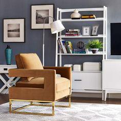 TOV Furniture Modern Avery Cognac Velvet Chair TOV A128