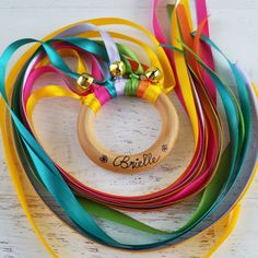 Rainbow Hand Kite Waldorf Hand Kite Ribbon Ring Musical Toddler Girl Gifts, Toddler Crafts, Toddler Toys, Crafts For Kids, Baby Toys, Operation Christmas Child, Montessori Toddler, Montessori Toys, Kids Stockings