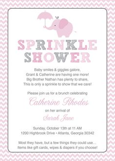 Invitation format for Baby Shower Lovely Pink Baby Sprinkle Shower Invitation Pink Grey Girl Chevron Boy Sprinkle Invitations, Pink Invitations, Invitation Ideas, Invitation Text, Grey Baby Shower, Girl Shower, Baby Girl Sprinkle, Second Baby Showers, Elephant Baby Showers