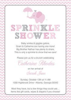 Pink Elephant Baby Sprinkle Shower Invitation / Pink Grey Girl Chevron / Umbrella / Printable / Sprinkle Shower