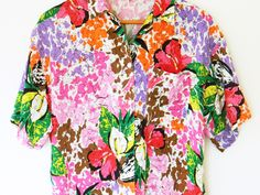 Abstract Floral 80s Slouchy Shirt/Vintage Button Up/Paint Splatter/Bright Floral Top