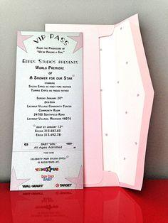 Baby Shower VIP Pass Invitation  Unique Baby Shower Invite   Movie Theme  (SAMPLE)