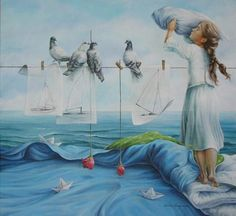 Chelin Sanjuan Piquero is a Spanish realistic artist who is known for contemporary paintings using children, horses and women. Art And Illustration, Fantasy Kunst, Fantasy Art, Rhino Art, Creation Photo, Surrealism Painting, Spanish Artists, Realism Art, Art Design