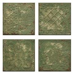 Rustic Green Embossed Tin Tile, Set of 4
