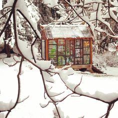 The Glass Cabin is looking good in the snow! I love how the colors are so bright when the rest of the world looks black and white. Glass Cabin, Glass House, Snow Today, Stained Glass Supplies, Glass Structure, Glass Installation, Looks Black, Diy Garden Decor, Winter Scenes