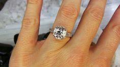 Platinum French Cut Diamond Ring by David Klass Jewelry.