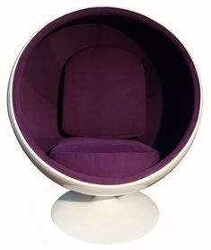 """The designer Eero Aarnio take inspiration from one of the simplest geometrical shapes, the ball, he created a chair fun yet refined design, the """"Ball Chair"""" Purple Chair, Purple Fabric, Retro Office Chair, Cheap Adirondack Chairs, Ball Chair, Cool Chairs, Retro Design, Room Decor, Furniture"""
