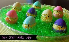 Baby Chick Deviled Eggs!  Such a cute idea!
