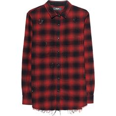 Amiri Crystal Plaid Red // Flannel shirt with rhinestones ($1,135) ❤ liked on Polyvore featuring tops, red shirt, red top, embellished top, red checked shirt and red plaid top