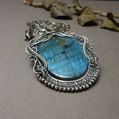 Silver wire wrapped pendant blue labradorite by MadeBySunflower, $250.00
