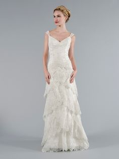 V-Neck Sheath Wedding Dress  with No Waist/Princess Seams in Lace. Bridal Gown Style Number:32884603