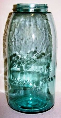 BALL IMPROVED MASONS PATENT 1858 An extremely tough jar to find in HG size. (One of the 1st Ball machine made jars)