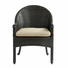 Set of 2 Amalfi Wicker Armchairs | Ballard Designs $639 Inc. Cushion  all weather wicker with tubular cast aluminum (which is better for beach living)