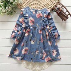 Our Winnie Dress is a long sleeve dress featuring a ruffled bodice and A-line skirt. Button fastener in back Soft flannel Mid-length - July 13 2019 at Girls Fall Dresses, Little Girl Dresses, Dresses For Toddlers, Dress Girl, Cute Girl Outfits, Kids Outfits, Little Girl Fashion, Kids Fashion, Dress Anak