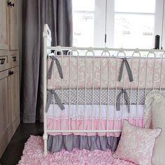 Caden Lane Sweet Damask Lace Crib Bedding