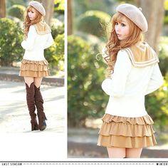 Gyaru ♥ omg the skirt and hat omg neeeeeed