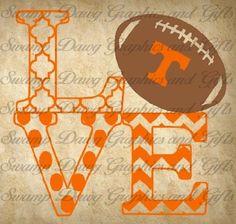 Tennessee Vols Love cut file, silhouette, circut, svg, football, nfl, college, school, little league, sports, quatrefoil, chevron