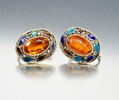 Chinese Enamel Amber Silver Filigree Earrings  Asian Jewelry Vintage Jewelry
