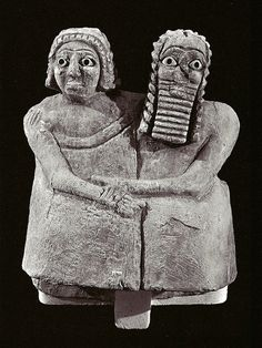 A devotional statue dating to 2600 B.C.E. of what scholars believe is a married couple. The gypsum statue was found buried beneath the floor of a shine at Nippur in Iraq and mesures 3.5 inches wide at the bottom. The couple originally had feet, and the figures have eyes made of shell and lapis lazuli set in bitumen, a natural cement-like substance.
