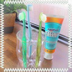 底のくぼみなど利用してできる、歯ブラシが倒れない歯ブラシスタンド。クリアなので汚れもわかりやすく衛生面に関しても◎。