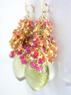Sapphire Ruby Tassel Earrings Lemon Quartz Gold by bellajewelsII