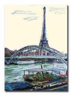 39848689 / Cuadro Torre Eiffel, Paris ilustracion