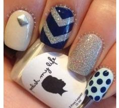 Navy blue and glitter--sailor nails ;)
