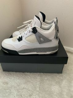 f915979490364c Air Jordan 4 Retro Og Bg Cement White-Tech Grey Size 7  fashion