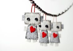 Mini Robot Plush Hanging Ornament Set of 3 with Red by GinnyPenny, $20.00