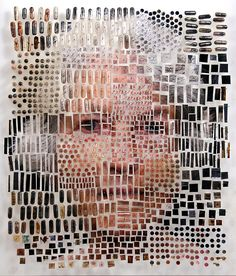 ASH -- these tiny pieces of color are assembled to create a sort of deconstructed portrait that implies value through texture. Artist Michael Mapes dissects photos and arranges them, pinning fragments like insects, and putting other pieces in vials. Collage Kunst, Collage Art, Collage Maker, Photomontage, Montage Photo, A Level Art, Gcse Art, Art Graphique, Art Plastique