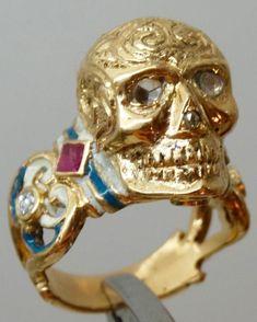 MUSEUM 18th C Georgian 22k gold,Enamel,Rubys&Diamonds Memento Mori Skull ring