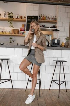Love the white sneakers with this outfit. # smart Casual Outfits evening This Is What Really Happens to Your Body When You Quit Caffeine Casual Work Outfits, Mode Outfits, Work Attire, Fashion Outfits, Womens Fashion, Winter Outfits, Fashion Ideas, Sneakers Fashion, Chic Outfits