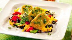 Mozzarella im Couscous-Mantel auf Paprikagemüse