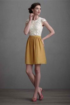 dress cream lace top and mustard bottom