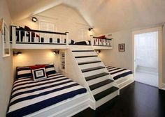 can't get enough of this coastal kids room design with bunk beds & steps. - Home Decor - nice can't get enough of this coastal kids room design with bunk beds & steps… by cool-homedeco - Bunk Beds With Stairs, Kids Bunk Beds, Loft Beds, Boys Bunk Bed Room Ideas, Cool Bunk Beds, Bunk Beds Built In, Custom Bunk Beds, Fun Spare Room Ideas, Built In Beds For Kids