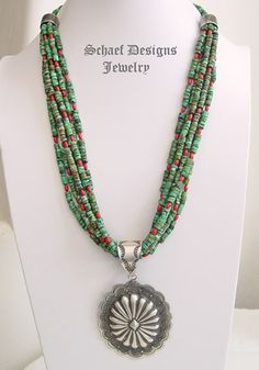 Schaef Designs artist signed 7 strand turquoise heishi & coral Southwestern necklace | Southwestern Necklace Basics collection