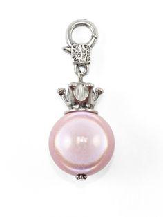 Damen Charm Anhänger Perle mit Krone, rosa von Fashion Jewelry bei www.meinkleidchen.de