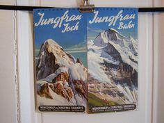 Vintage Jungfrau Joch/Jungfrau Bahn travel brochure by the famous Swiss travel poster artist, Louis Koller (1904-1978). This near-mint condition   etsy 6o,39 euro