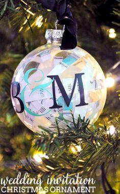 Wedding Christmas ornament-used rehearsal & wedding invitation | Tis ...