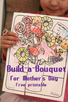 Build-a-Bouquet Mother's Day printable for kids. Cute and easy craft activity!