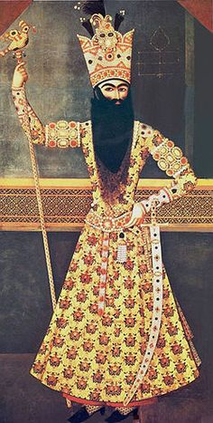 Fat′h Ali Shah Qajar, king of Persia. While this beard is very impressive, if you look at the upper left hand corner, it looks like he taped it on. Qajar Dynasty, King Of Persia, Sassanid, Ancient Persian, Persian Culture, Hip Hop Art, Iranian Art, Islamic World, Islamic Art Calligraphy