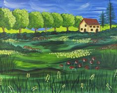 """Social Artworking Canvas Painting Design - Late Summer in Tuscany  Summer is winding down but the air still hangs hot and humid over the fields. A cool glass of Moscato and a selection of imported cheeses served during twilight helps celebrate the passing of one season to the next. Capture this feeling of languid tranquility with this painting. hung in a prominent space.  CANVAS SIZE:  16"""" x 20""""  TIME TO PAINT:  approximately 2 hours 30 minutes"""