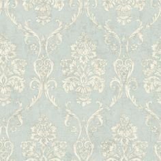 OM91901 Light Blue Damask - Domenico - Raymond Waites Wallpaper