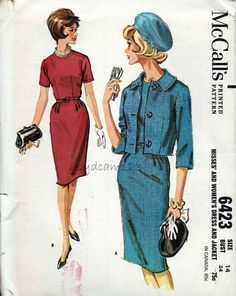 Vintage 1960s Pattern Dress and Jacket Collarless by sydcam123