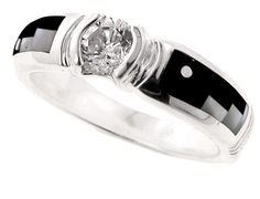David Rosales Tuxedo Inlaid Sterling Silver Ring