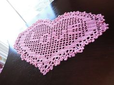 Crochet Doily Heart Shape with the word LOVE by VastVarieties