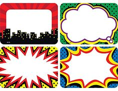These comic book-style, superhero-themed name tags are ideal for parent-teacher conferences, back-to-school events, field trips, classroom labels and more! Pack includes 36 self-adhesive name tags in 4 designs; each name tag measures 2 x 3 Superhero Name Tags, Superhero Classroom Theme, Superhero Birthday Party, Classroom Themes, Classroom Walls, Superhero Photo Booth, Classroom Name Tags, Superhero Teacher, Classroom Teacher